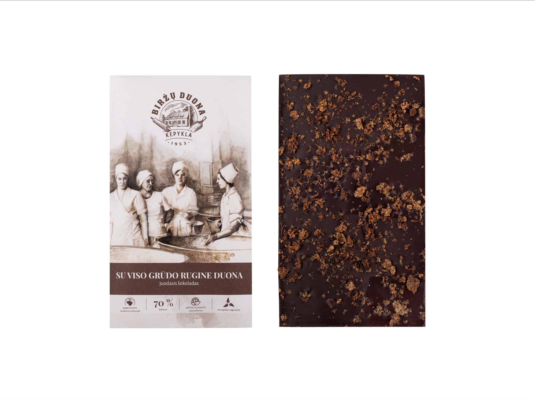 Juodasis šokoladas 70% su viso grūdo rugine duona
