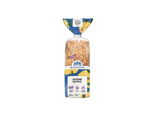 Sudedamosios dalys: mišinys sausainiams be glitimo (ryžių miltai, bulvių krakmolas, emulsiklis: E471, druska, tirštiklis: ksantano derva, tešlos kildymo medžiagos: E450, natrio karbonatas, natūrali Bourbon vanilė), SVIESTAS, cukraus pudra, KIAUŠINIŲ masė (KIAUŠINIŲ masė 98,4%, rūgštingumą reguliuojanti medžiaga: citrinų rūgštis), džiovintos spanguolės 5%, PISTACIJŲ branduoliai 5%, vanduo. SUDĖTYJE GALI BŪTI: SEZAMO SĖKLŲ, ŽEMĖS RIEŠUTŲ, SOJŲ PUPELIŲ IR JŲ PRODUKTŲ PĖDSAKŲ. 100 g gaminio: energinė vertė 1762 kJ/420 kcal, riebalai 19,2 g (iš kurių – sočiųjų riebalų rūgščių 10,9 g), angliavandeniai 57,0 g (iš kurių – cukrų 20,5 g), skaidulinės medžiagos 0,7 g, baltymai 4,5 g, druska 0,4 g. Fasavimas: 160g (9 vnt pakuotėje) Tinkamumo vartoti terminas: 60 parBe gliuteno avižinė Biržų duona